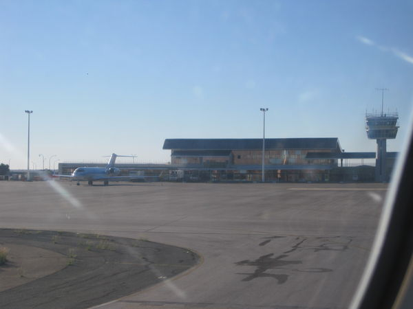 View of the airport from the plane. As you can see it's quite small and easy to navigate.
