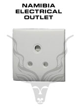 Namibia Electrical Outlet – Namibia standard is 220/230 Volts AC 50 Hz, three-pin 15 amp outlets.