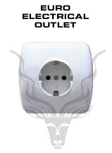 European Electrical Outlet – European standard is 220 Volts, two-pin outlets.