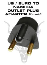 American / European To Namibia Outlet Plug Adapter – To be plugged in a 220V Namibia outlets. Will accept American and European plugs.