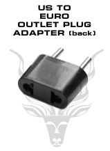 American to European Outlet Plug Adapter – To be plugged in a 220V European outlets. Will accept American plugs.